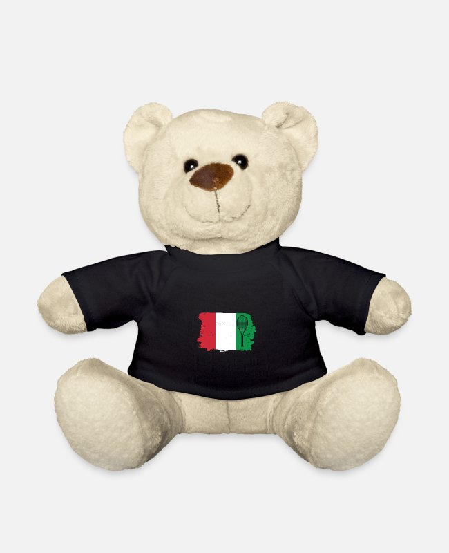 Italian Teddy Bear Toys - Italy Tennis Flag - Teddy Bear black
