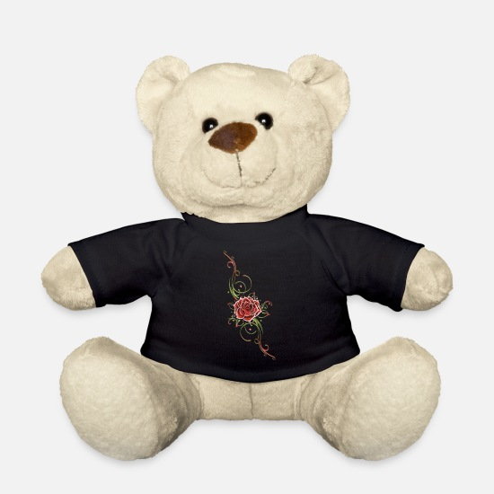 Rose Teddy Bear Toys - Filigree Tribal with large rose - Teddy Bear black