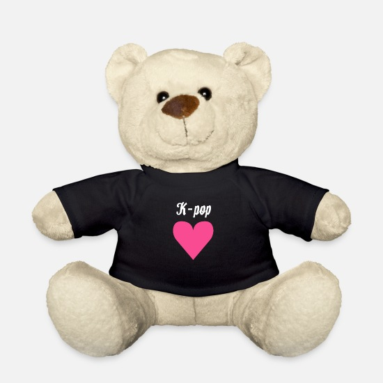 Gift Idea Teddy Bear Toys - K-Pop And Heart Kpop K Pop Music South Korea Cool - Teddy Bear black