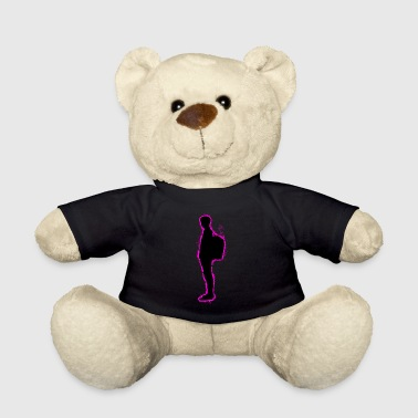 Black People Silhouette people pink and black outline - Teddy Bear