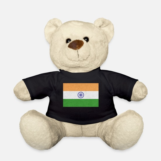 Birthday Teddy Bear Toys - India Flag Motif Design Gift Idea Cool - Teddy Bear black