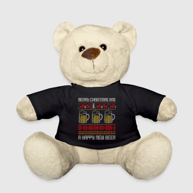 Funny Christmas Ugly Sweater Happy New Beer - Teddy