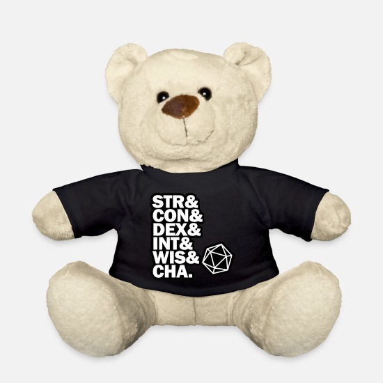 Dungeons And Dragons Teddy Bear Toys - STR & DEX CON & INT & WIS and CHA. - Teddy Bear black