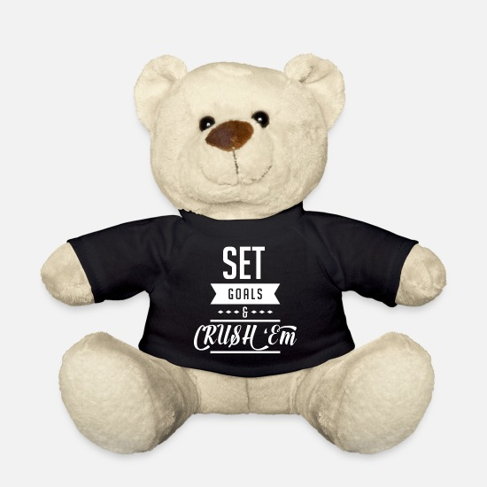 Gym Teddy Bear Toys - Gym Crush'Em Goals Training Cool Gift - Teddy Bear black