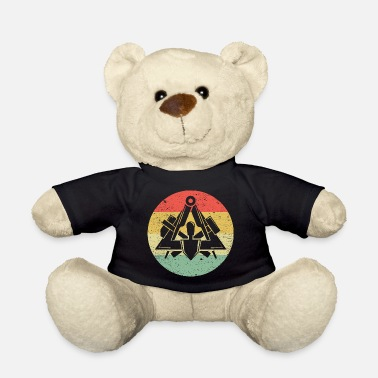 Workwear Masons guild symbol on cool vintage retro colors - Teddy Bear