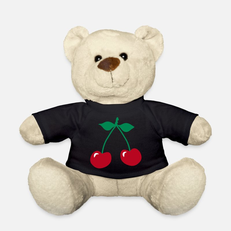 Rockabilly Teddy Bear Toys - cherry rockabilly symbol_patjila - Teddy Bear black