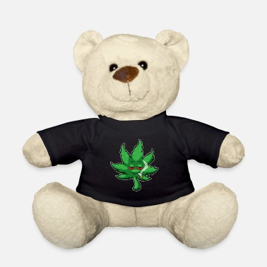Weed Cannabis Leaf With Red Eyes Smokes Weed - THC CBD - Teddy Bear