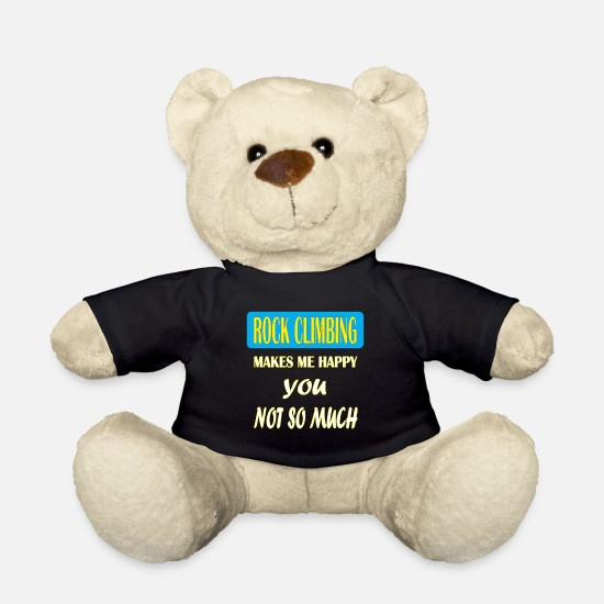 Rock Climbing T-shirt Teddy Bear Toys - Rock climbing - Rock climbing makes me happy you - Teddy Bear black