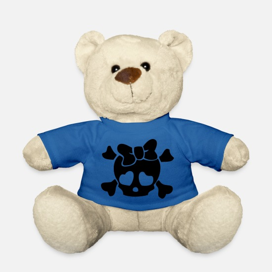 Pretty Teddy Bear Toys - Skull Crossbones Bow - Teddy Bear royal blue