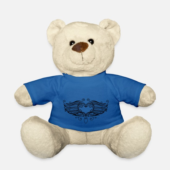 Love Teddy Bear Toys - Filigree Tattoo Heart with wings. - Teddy Bear royal blue