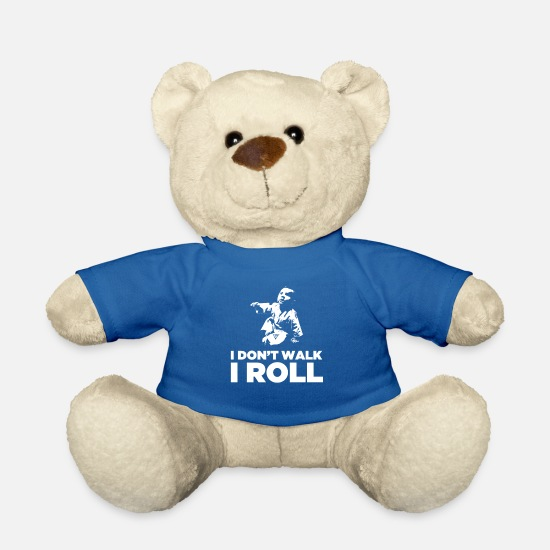 Christmas Teddy Bear Toys - I Don't Walk I Roll - Teddy Bear royal blue