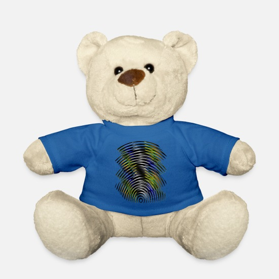 Gift Idea Teddy Bear Toys - Yellow & black & blue contrast lines - Teddy Bear royal blue