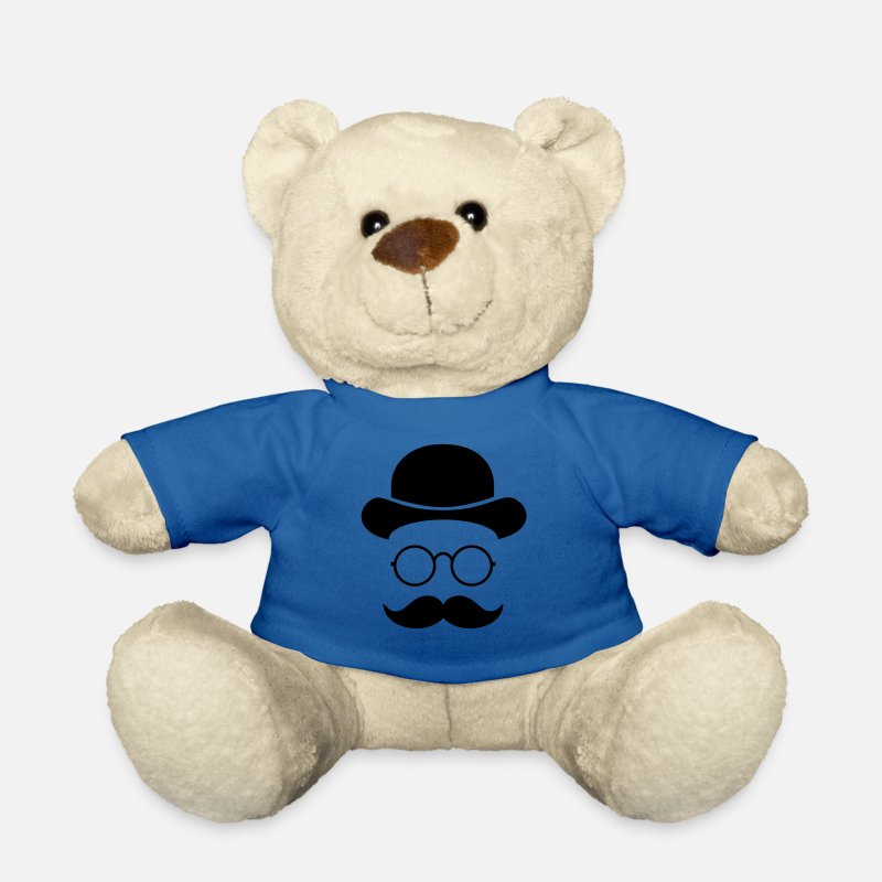Face Teddy Bear Toys - Funny vintage face with Moustache & Glasses - Teddy Bear royal blue