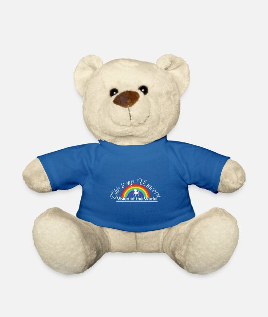 Fancy Teddy Bear Toys - Unicorn and rainbow - Teddy Bear royal blue