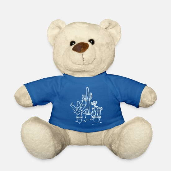 Gift Idea Teddy Bear Toys - Cactuses in pots outlines gift idea white - Teddy Bear royal blue