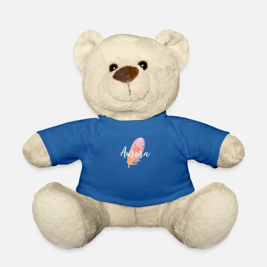 Aurora Girl Name With Feather In Water Colors - Teddy Bear
