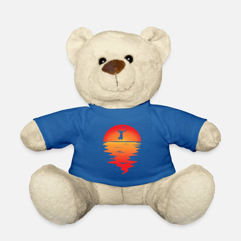 Birthday Teddy Bear Toys - Sunset volleyball - Teddy Bear royal blue