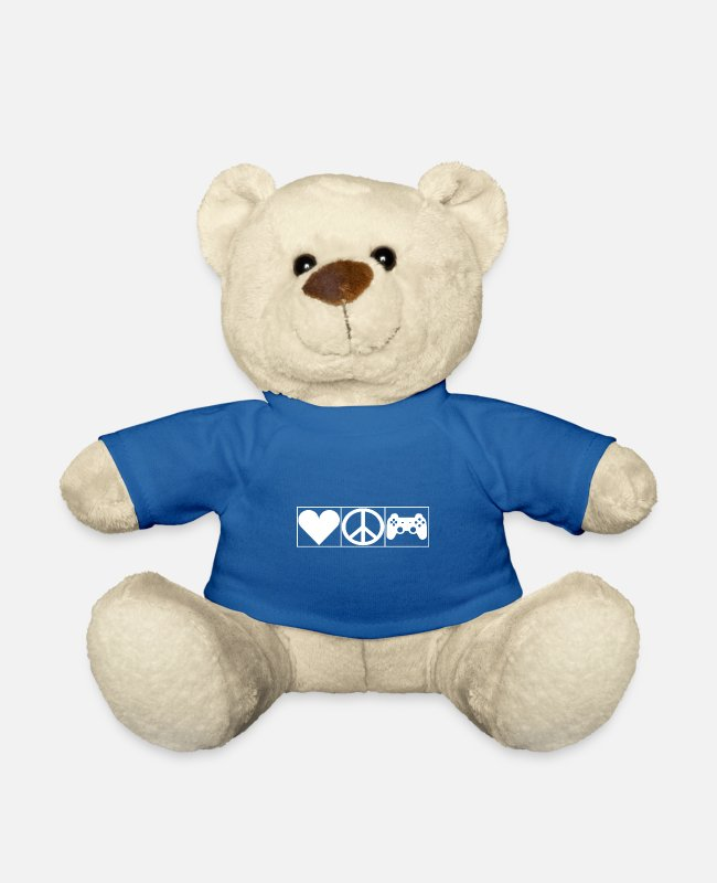 New Teddy Bear Toys - Love, Peace and Gaming - Leibl Designs - Teddy Bear royal blue