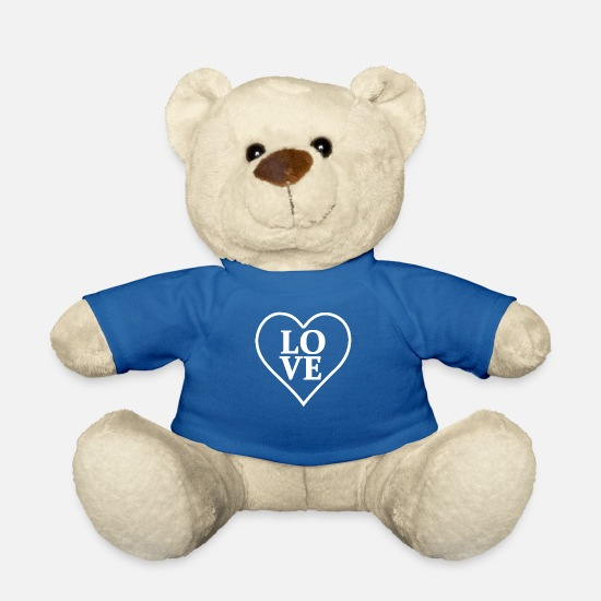 Love Teddy Bear Toys - LOVE with heart in white - Teddy Bear royal blue