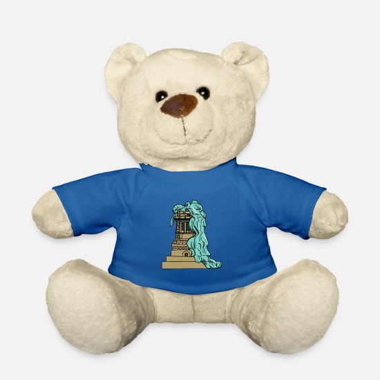 Patriot Teddy Bear Toys - Abandoned pedestal of the USA Statue of Liberty - Teddy Bear royal blue