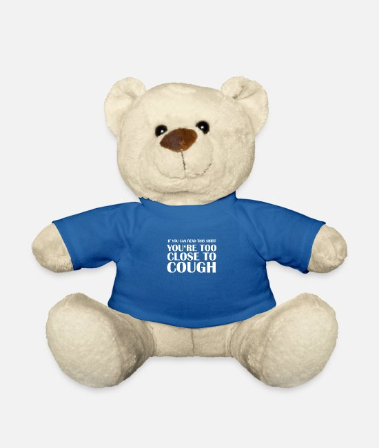 Virus Teddy Bear Toys - Too Close To Cough Stop Virus - Teddy Bear royal blue