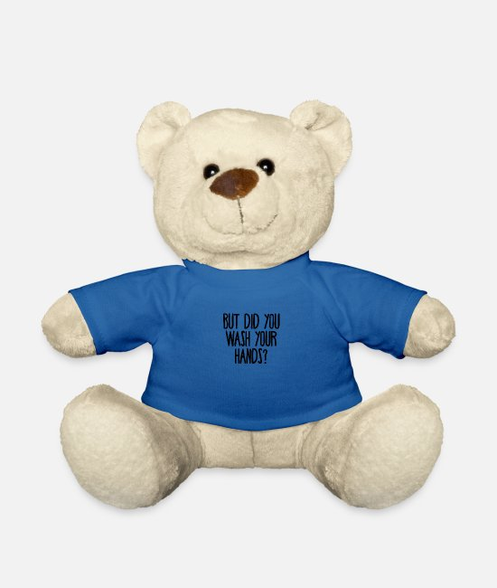 Hands Teddy Bear Toys - But did you wash your hands? Hygiene saves lifes - Teddy Bear royal blue