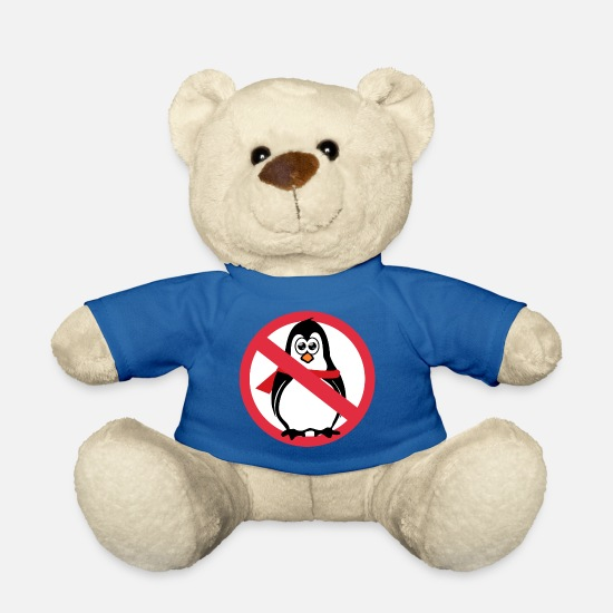 Ice Floe Teddy Bear Toys - Penguin prohibition sign - Teddy Bear royal blue