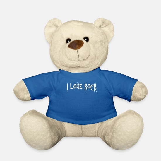 Amore Peluche - Amo il rock - Orsetto blu royal