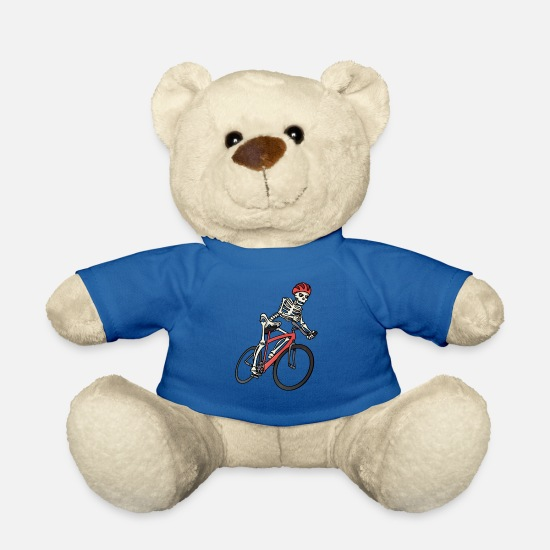Birthday Teddy Bear Toys - Skeleton cyclist on bicycle gift idea bike - Teddy Bear royal blue