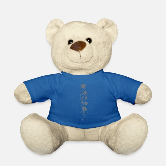 Floral Teddy Bear Toys - Beautiful flowers with filigree ornament. - Teddy Bear royal blue