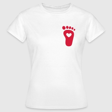 Baby foot, heart, birth, gift, mom, pregnancy - Women's T-Shirt