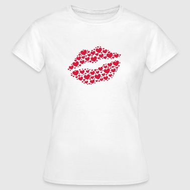 Kiss, lips, hearts, Valentines Day, Love, Kissing - Maglietta da donna