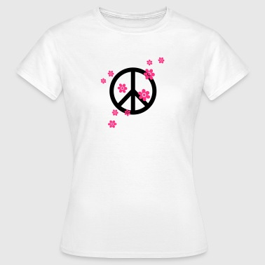 Peace Flowers Love Freedom Symbol Summer Hippie - Women's T-Shirt
