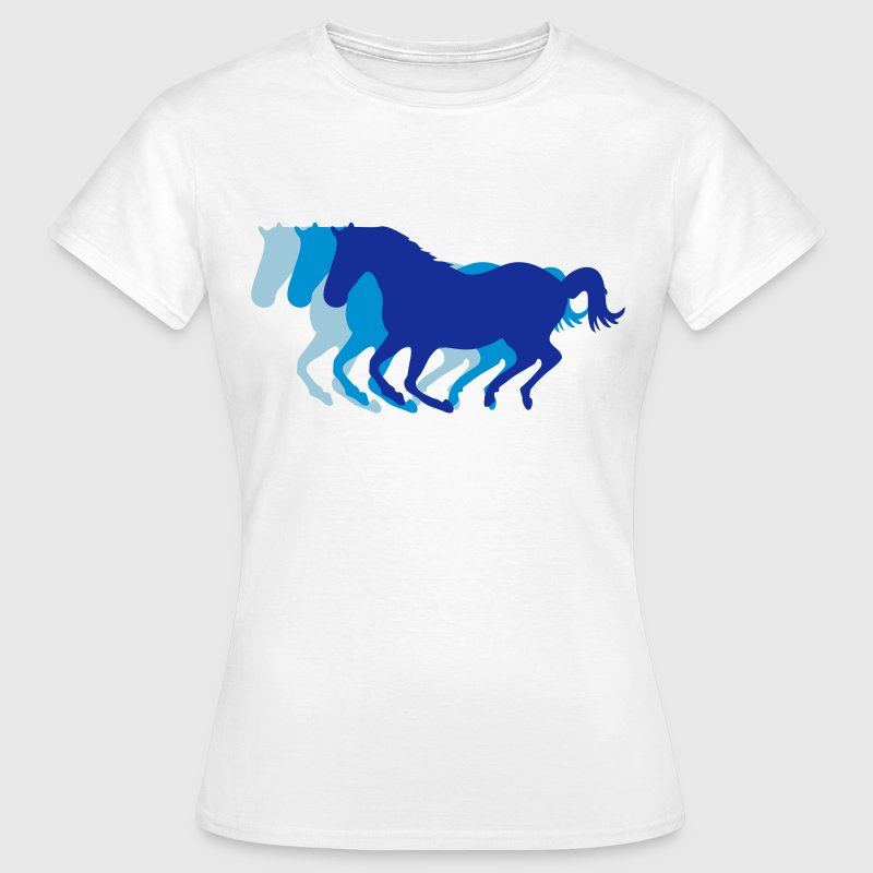 Three horses at a gallop - Horse riding - dressage horses riding horse race - Women's T-Shirt