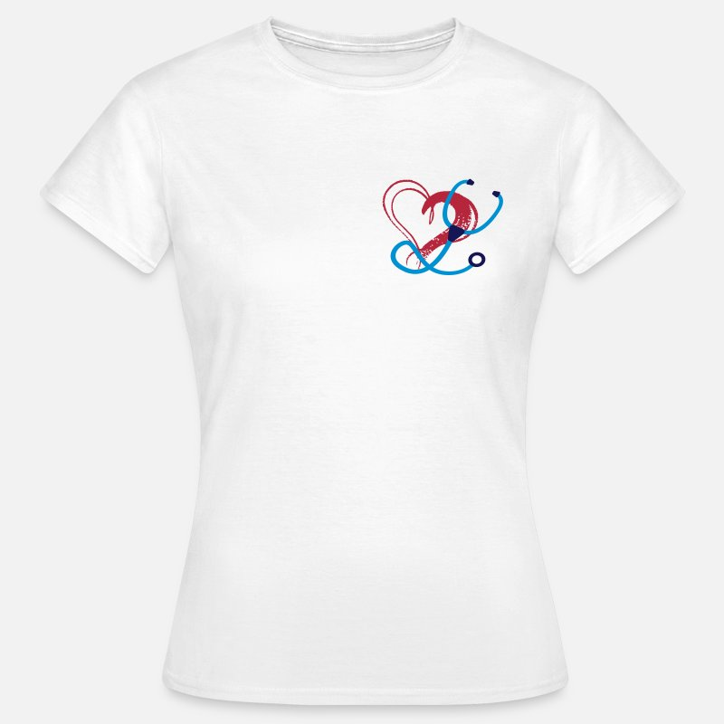 Stethoscope T-Shirts - Stethoscope Heart - Nurse / Doctor /Physician - Women's T-Shirt white