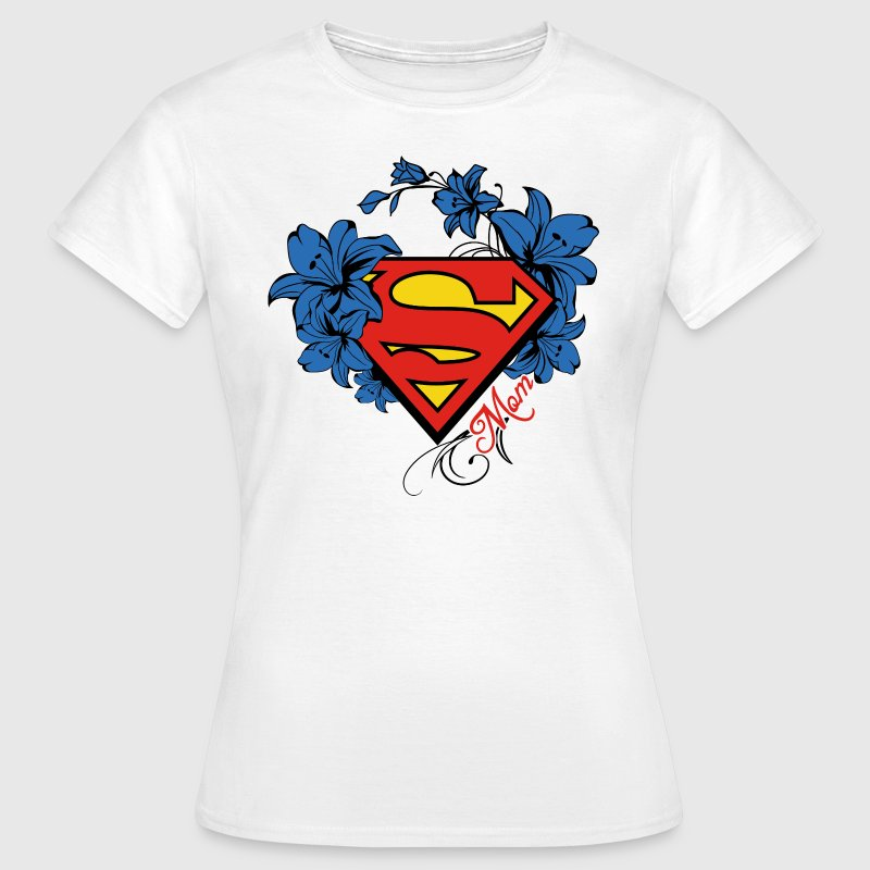 Superman Super Mom Flowers Red - Dame-T-shirt