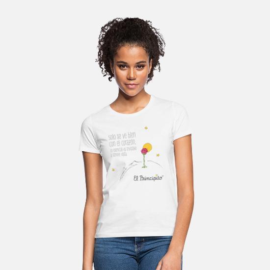 8f68e33459 Con Camisetas - El Principito - Cita Se ve con el corazón - Camiseta mujer  blanco