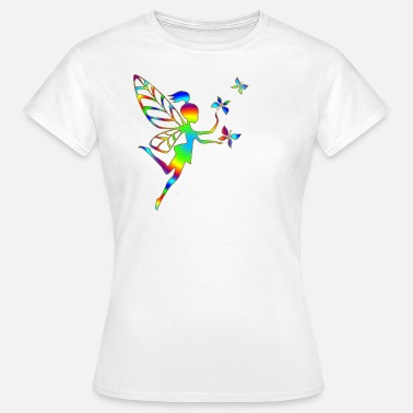 Elfe Fee Schmetterlinge Regenbogen Elfe, Fee, Schmetterlinge, Magie, DD - Frauen T-Shirt