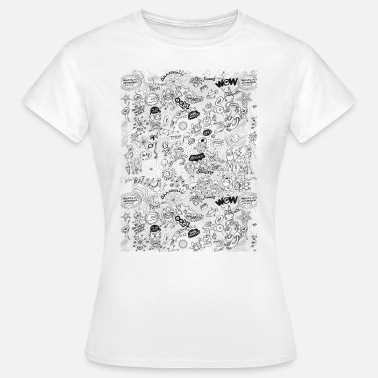 Celestial Bodies Aliens, celestial bodies and odd machines pattern - Women's T-Shirt
