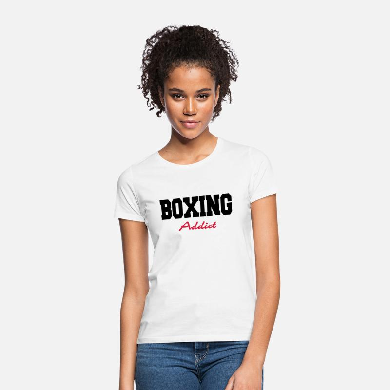 Accro T-shirts - Boxing Addict - T-shirt Femme blanc