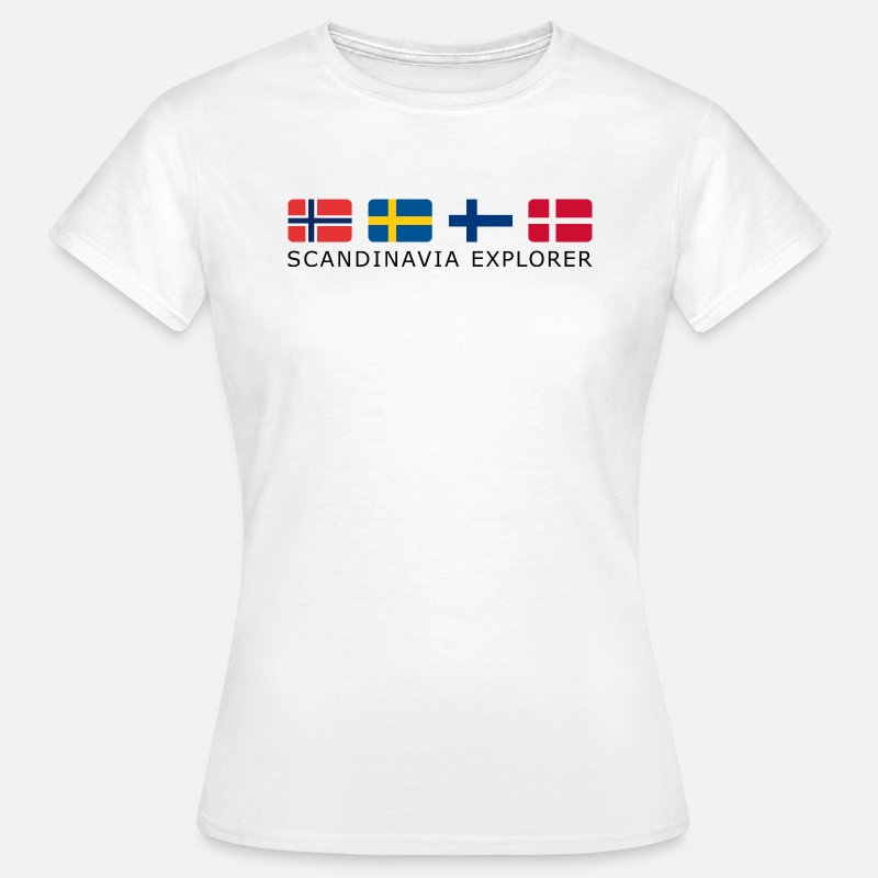 Flag T-Shirts - SCANDINAVIA EXPLORER black-lettered - Women's T-Shirt white