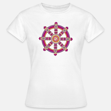 Baby Bruiloft Doop Dharmachakra, Darma Wheel of Law, Buddhist Symbol T-shirts - Vrouwen T-shirt