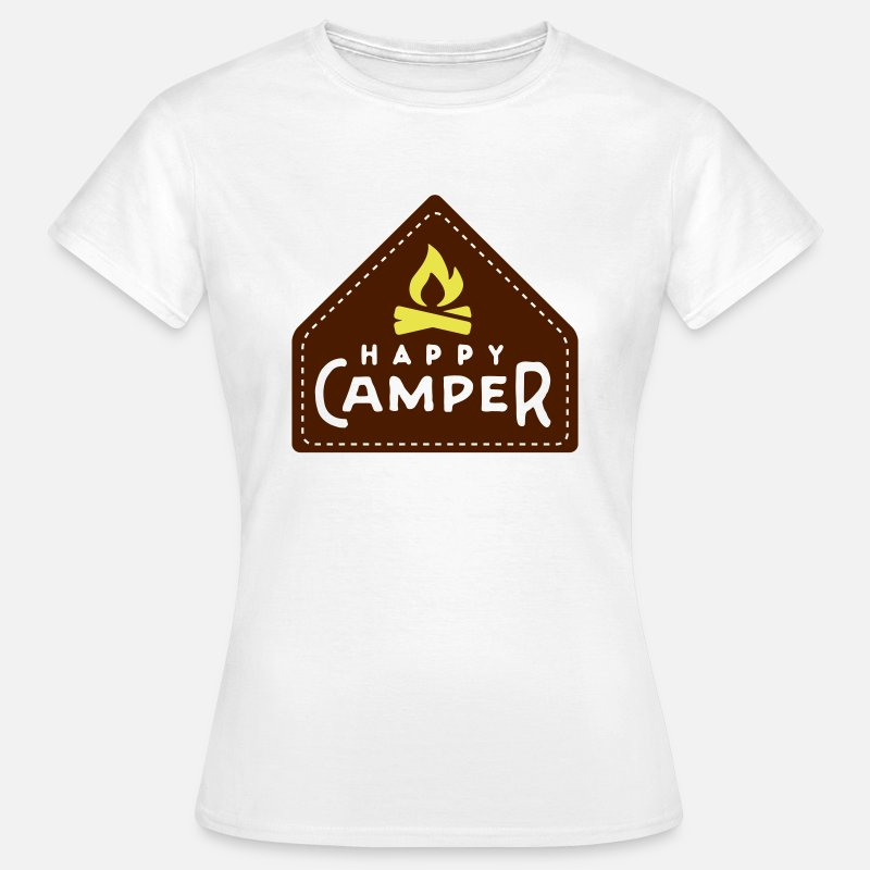 Berg T-Shirts - happy camper - Vrouwen T-shirt wit