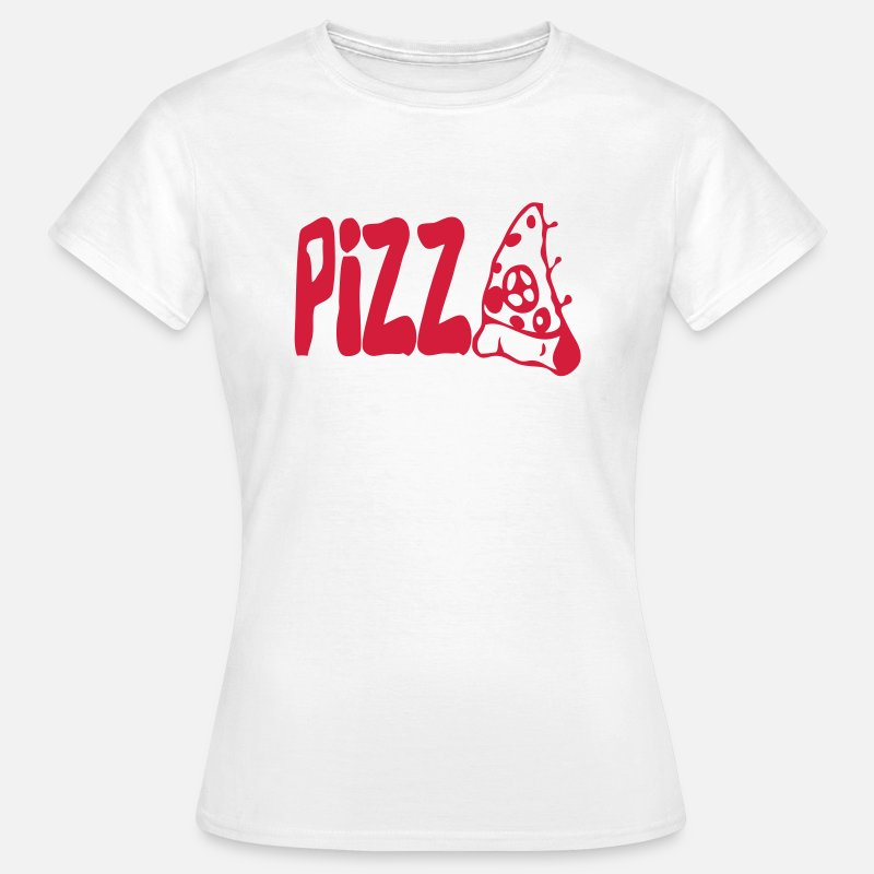Eat T-Shirts - pizza word eat teaches - Women's T-Shirt white