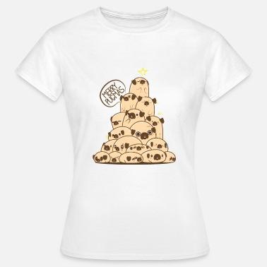 bf08c3bd318d Mops Hund Weihnachtsgeschenk Christbaum aus Welpen - Frauen T-Shirt