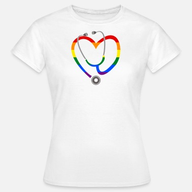 Care Homosexual Stethoscope Heart LGBT Rainbow Medicine Study - Women's T-Shirt