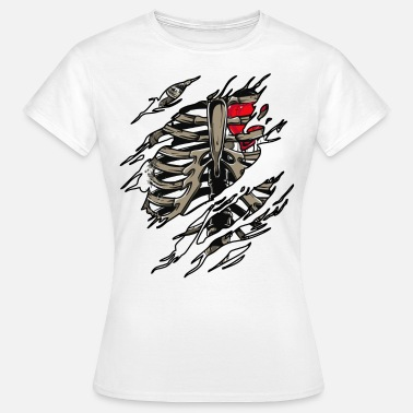 Cage Rib Zombie Rib Cage Showing Skeleton Halloween Scary Light - Women's T-Shirt