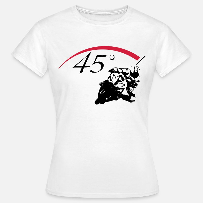 Motor T-Shirts - 45 ° bikers  - Vrouwen T-shirt wit