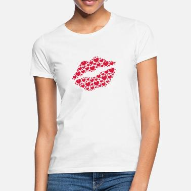Kissing Lips Kiss, lips, hearts, Valentines Day, Love, Kissing - T-shirt dam