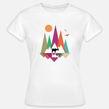 Chasseur Hipster Mountains & Moose - T-shirt Femme